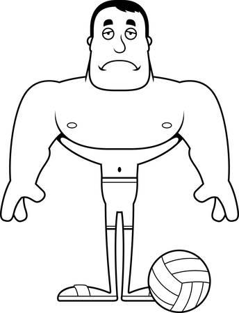 A cartoon beach volleyball player looking sad.