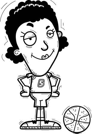 A cartoon illustration of a black woman basketball player looking confident.