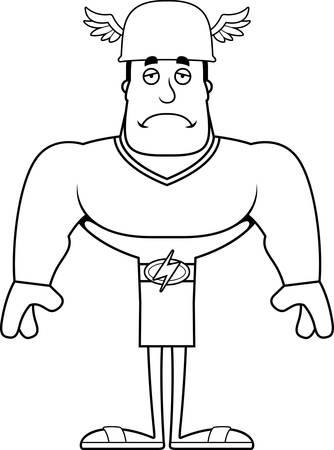 A cartoon Hermes looking sad.