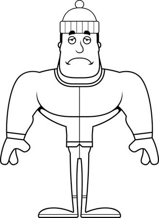 A cartoon winter man looking sad.