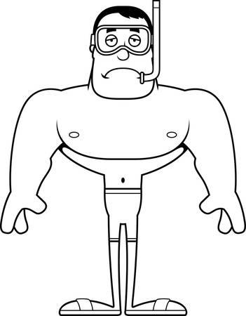 A cartoon snorkeler looking sad.