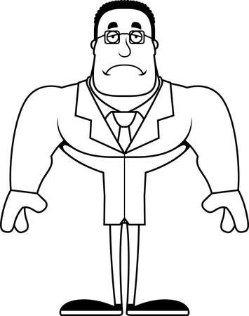 A cartoon scientist looking sad.