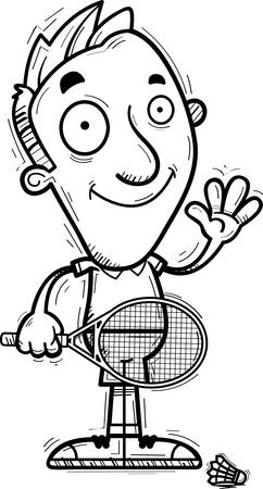 A cartoon illustration of a man badminton player waving.