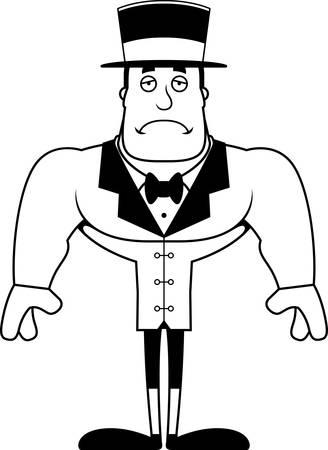 A cartoon ringmaster looking sad.