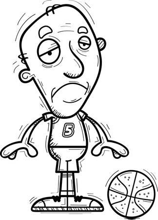A cartoon illustration of a senior citizen man basketball player looking sad.