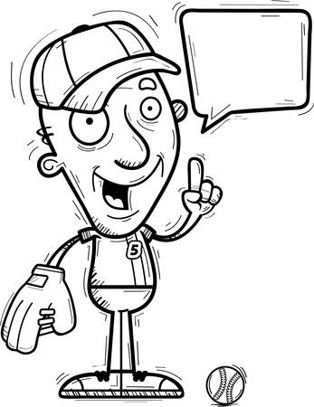 A cartoon illustration of a senior citizen man baseball player talking.