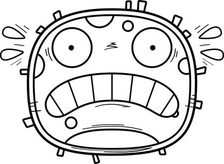 A cartoon illustration of a white blood cell looking scared.  イラスト・ベクター素材