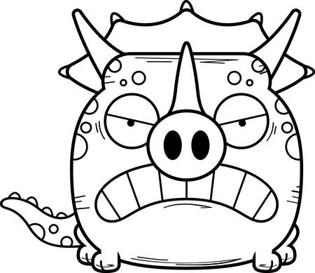 A cartoon illustration of a little Triceratops dinosaur with an angry expression.