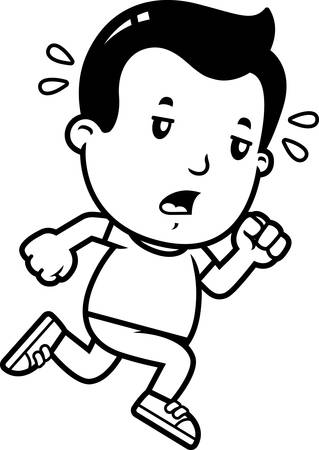 A cartoon illustration of a boy running and looking exhausted. Banque d'images - 102123221
