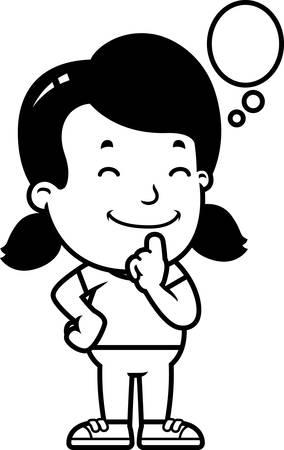 A cartoon illustration of a girl thinking.