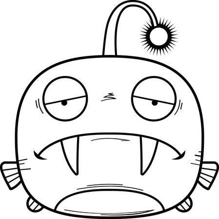 A cartoon illustration of a viperfish looking sad.