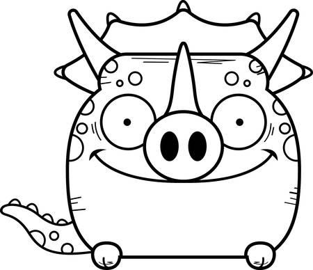 A cartoon illustration of a little Triceratops dinosaur peeking over an object.