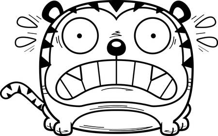 A cartoon illustration of a tiger looking scared.