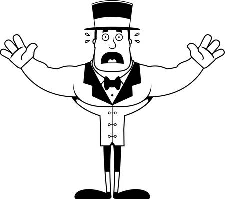 A cartoon ringmaster looking scared. Çizim