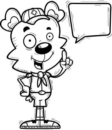 A cartoon illustration of a male bear scout talking. Illustration