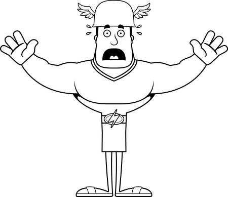 A cartoon Hermes looking scared.