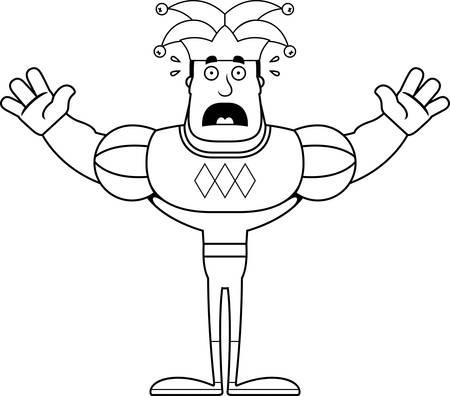 A cartoon jester looking scared. Иллюстрация