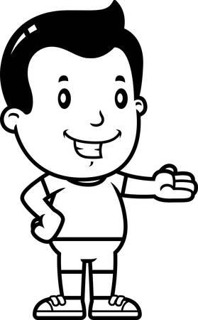 A cartoon illustration of a boy giving a presentation.