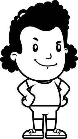 A cartoon illustration of a girl looking confident. Illusztráció