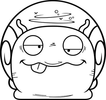 A cartoon illustration of a snail looking drunk. Illustration