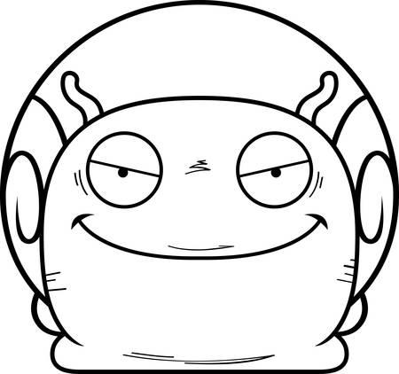A cartoon illustration of an evil looking snail.