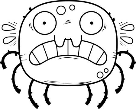 A cartoon illustration of a spider looking scared.
