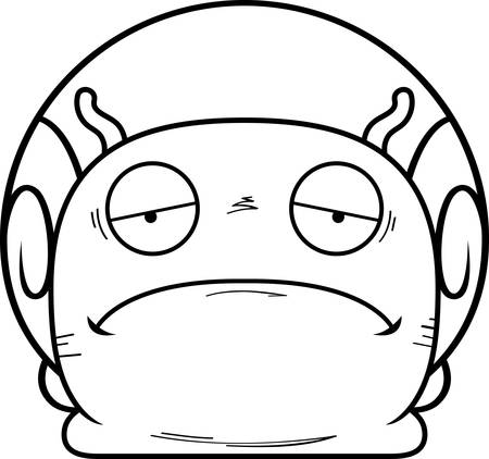 A cartoon illustration of a snail looking sad.