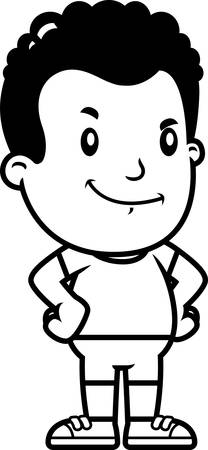 A cartoon illustration of a boy looking confident.