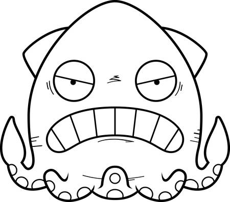 A cartoon illustration of a squid looking angry.