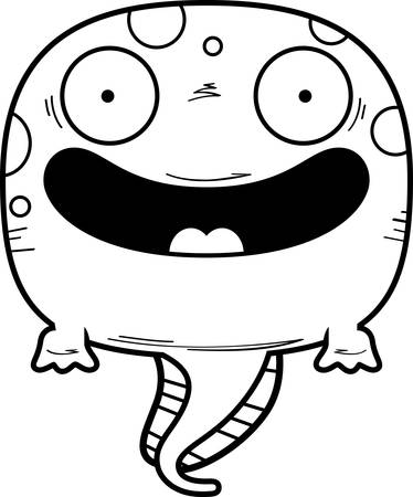 A cartoon illustration of a tadpole smiling.