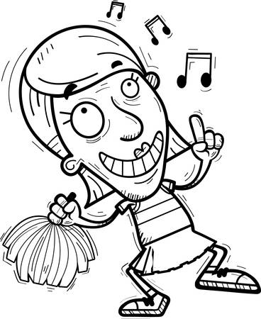 A cartoon illustration of a senior citizen woman cheerleader dancing. Illustration