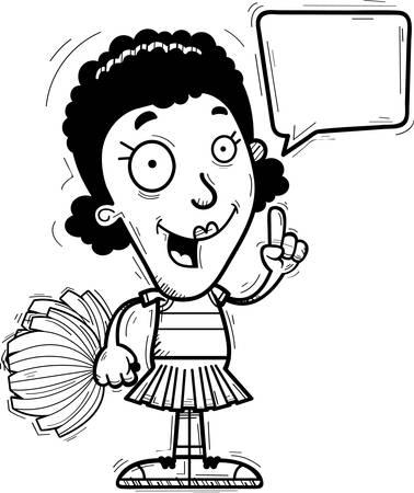 A cartoon illustration of a black woman cheerleader talking.