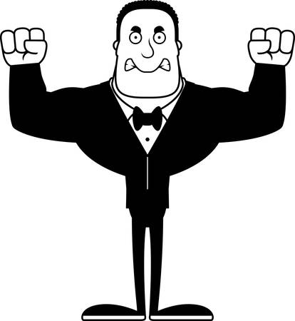 A cartoon groom looking angry.
