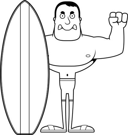 A cartoon surfer looking angry.
