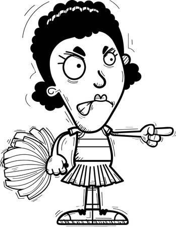 A cartoon illustration of a black woman cheerleader looking angry and pointing.