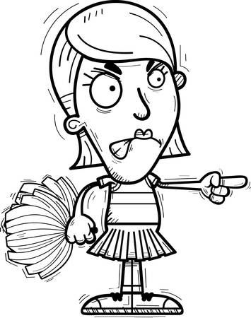 A cartoon illustration of a woman cheerleader looking angry and pointing.