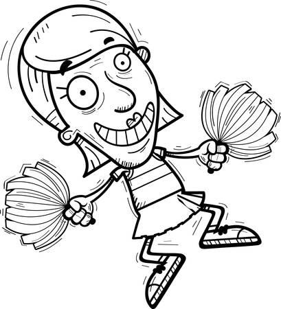 A cartoon illustration of a senior citizen woman cheerleader jumping. Illustration