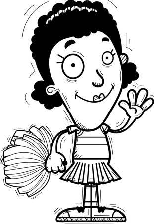 A cartoon illustration of a black woman cheerleader waving.