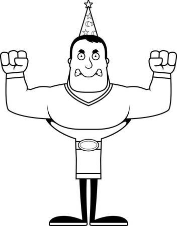 A cartoon wizard looking angry. Ilustração