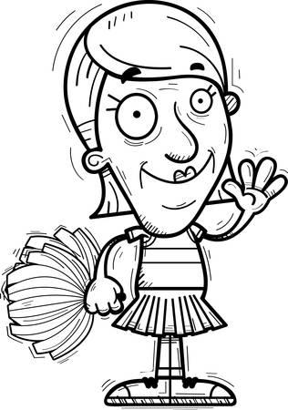 A cartoon illustration of a senior citizen woman cheerleader waving. Illustration