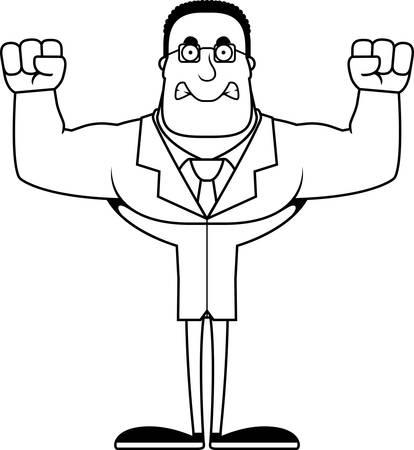 A cartoon scientist looking angry. Illusztráció
