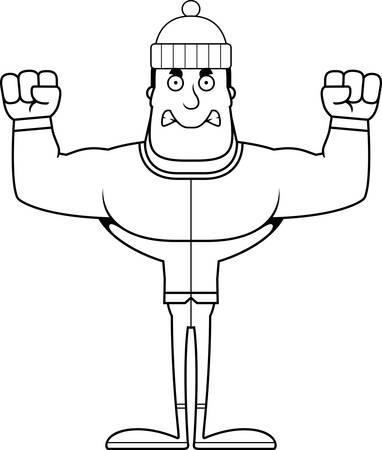 A cartoon winter man looking angry.