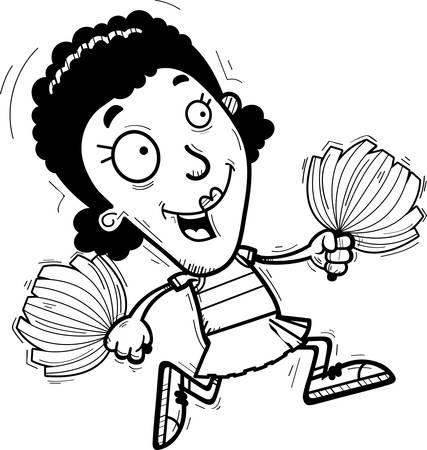A cartoon illustration of a black woman cheerleader running. Illustration