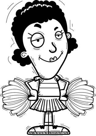 A cartoon illustration of a black woman cheerleader looking confident. Illustration