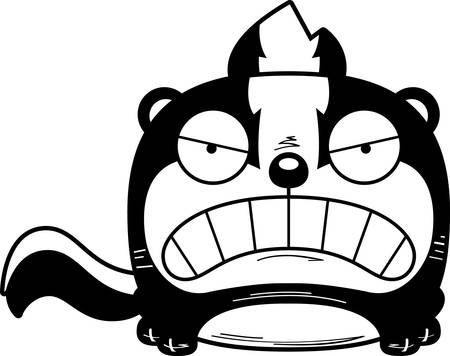 A cartoon illustration of a skunk with an angry expression.