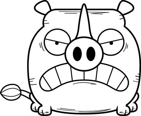 A cartoon illustration of a little rhinoceros with an angry expression.