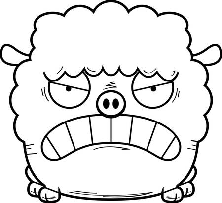 A cartoon illustration of a lamb looking angry. Çizim