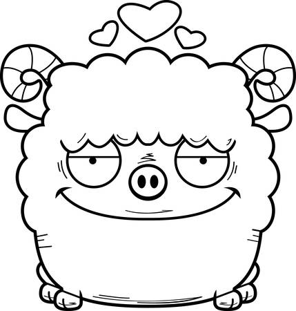 A cartoon illustration of a ram in love.