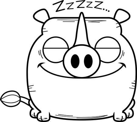 A cartoon illustration of a little rhinoceros taking a nap.