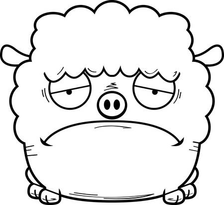 A cartoon illustration of a lamb looking sad.